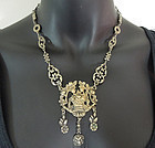 C 1900 800 Silver Gold Wash Giardinetti Necklace Italy