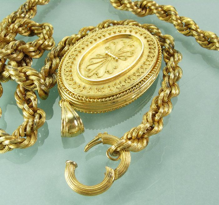 1870s Victorian Rolled Gold Etruscan Locket Necklace
