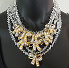 70s Jay Feinberg Brilliant Crystal Strass Bows Necklace