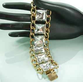 Statement 1970s French Bracelet Huge Glass Stones