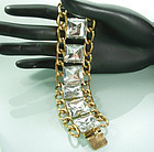 Statement 1970s French Bracelet Huge Glass Stones
