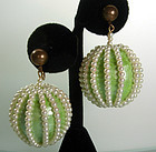 1960s Mod Green Papier Mache Faux Pearl Earrings