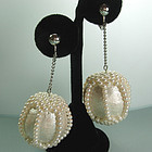 1960s Mod Cream Papier Mache Faux Pearl Earrings