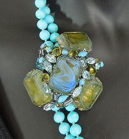 60s Unsigned Schreiner Aqua Pin Necklace Fantasy Stones