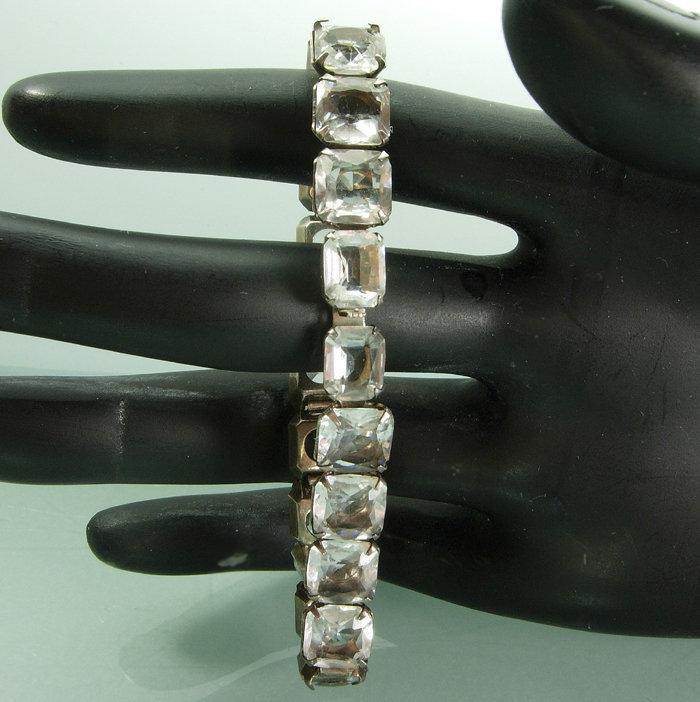 Antique Art Deco H&H Sterling Paste Glass Bracelet