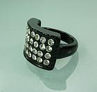 1960s Mod Black Lucite Brilliant Strass Stones Ring