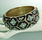80s Oscar de la Renta Bracelet Black Enamel Blue Stones