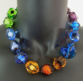 1960s Necklace Huge Art Glass French Beads Jewel Tones