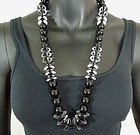 1980s French Black Clear Lucite Modernist Big Necklace