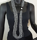 1980s Italian Conterie Black White Glass Huge Necklace