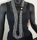 1980s Italian Conterie Black White Glass Huge Necklace