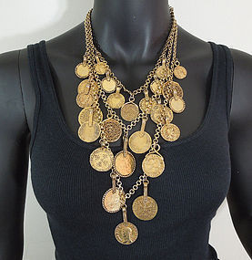 Yves Saint Laurent YSL 3 Tier Coin Byzantine Necklace