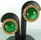 Chanel Green Gripoix Poured Glass Rope Twist Earrings