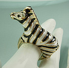 1970 Enameled Jeweled Zebra Cocktail Ring Ciner Style