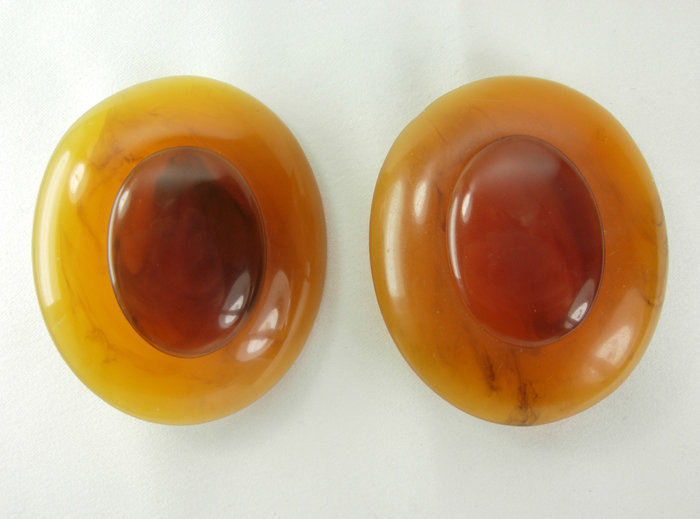 Huge Opaque Matte Lucite Faux Amber Marbled Earrings