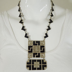 70s Givenchy Mod Black Enamel Silver Logo Necklace