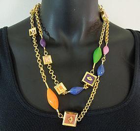 80s Karl Lagerfeld Enamel Necklace Fan Logo Jewel Tones