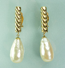 80s Lagerfeld Gripoix Glass Baroque Pearl Drop Earrings
