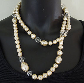 Luxe Heavy 1970s French Pearl Crystal 40 Inch Necklace