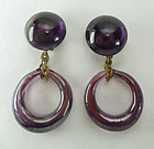 1970s Purple Poured Glass Drop Earrings Made in France