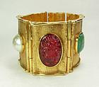 Huge Byzantine Poured Glass Antigona Paris Bracelet