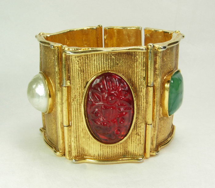 Huge Byzantine Poured Glass Antigona Paris Bracelet