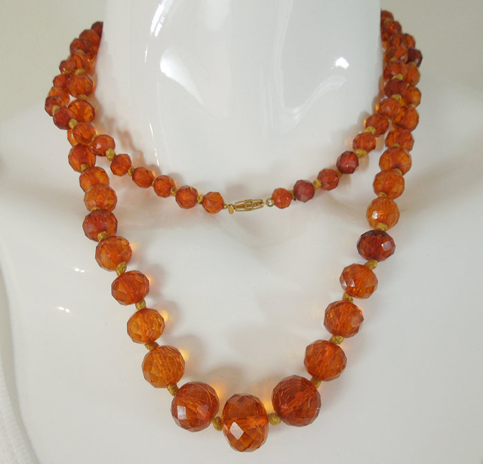 Antique Faceted Honey Amber 14K Gold Long Necklace