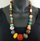 Vintage Chinese Trade Bead Necklace Kingfisher Coral