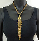 1970s Couture Articulated Crocodile Form Necklace
