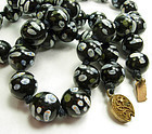 1930s Chinese Porcelain Black Ground Bead Necklace