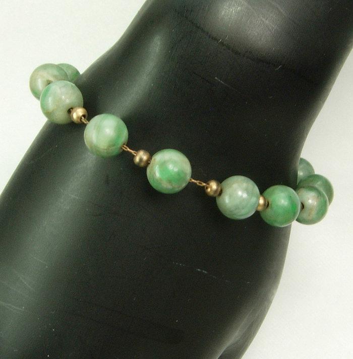 Antique 1920s 9mm Jade Bead Chain Strung Bracelet