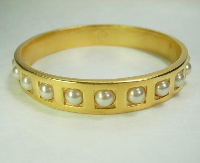 80s Karl Lagerfeld Faux Mabe Pearl Bangle Bracelet