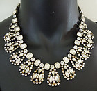 1960s Couture Frosted Satin Rhinestone Necklace