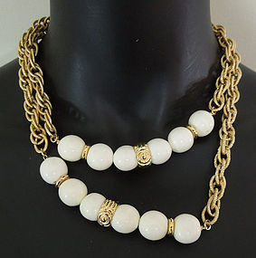 Dated 1977 Givenchy Cream Lucite Long Sautoir