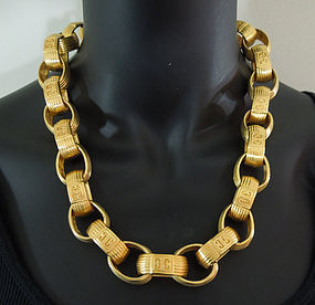 1980s Givenchy Logo Statement Chain Link Necklace