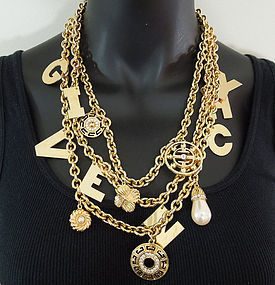 Huge 70s Givenchy 3 Tier Logo Name Charm Necklace