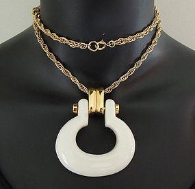 70s Trifari Mod Statement Lucite Pendant Necklace