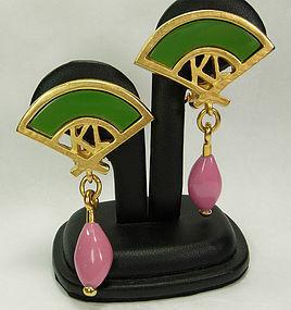 80s Karl Lagerfeld Drop Earrings Fan Logo Jewel Tones