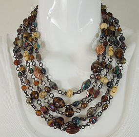 1990 French 4 Strand Poured Glass Wired Necklace