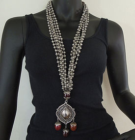 Monumental 70s Jay Feinberg Filigree Tribal Necklace