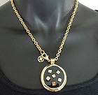 1970s Givenchy Black Enamel Pendant G Logo Necklace