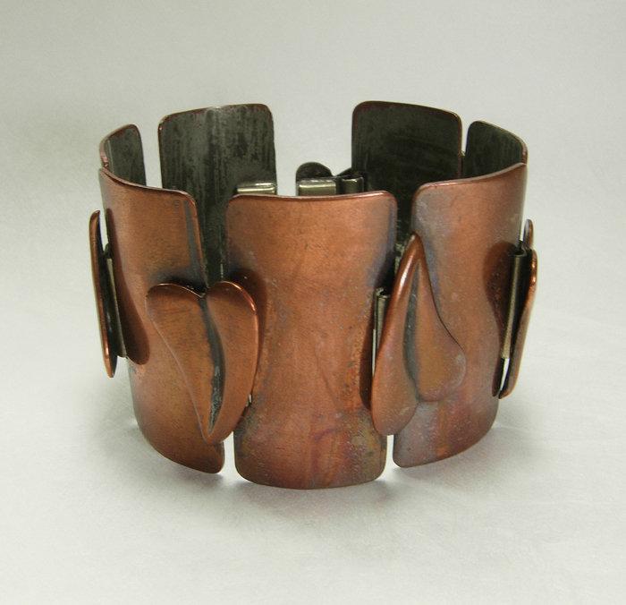 50s Modernist Frank Rebajes Copper Bracelet Heart Motif