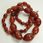 1930s Chinese Carnelian Necklace Graduated Olive Beads
