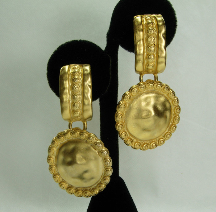 80s Barbaric Style Faux Coin Hammered Goldtone Earrings