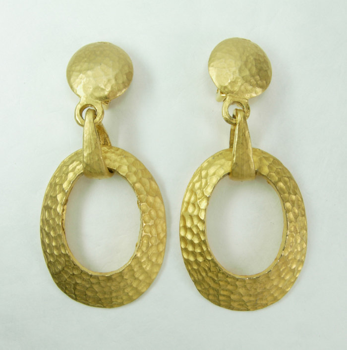 1980s Barbaric Style 3+ Inch Hammered Goldtone Earrings