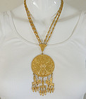 1970s Vendome Runway Etruscan Style Big Drop Necklace