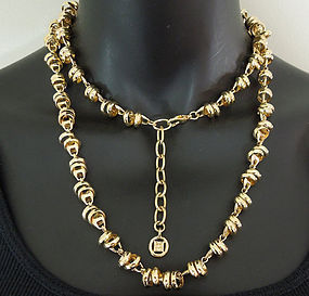 1970s Givenchy Necklace Sautoir Rings on Horsebit Chain
