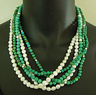 1970s Chinese Turquoise Pearl 5 Strand Necklace Torsade