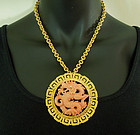 Hattie Carnegie Dragon Necklace Faux Coral Chinoiserie