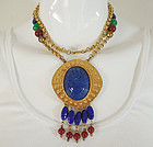 70s Dauplaise Egyptian Style Necklace Blue Glass Lucite